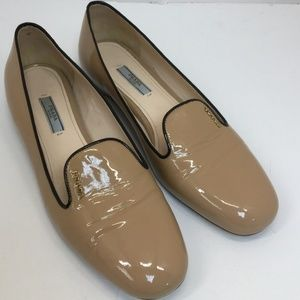 Prada Nude Patent Leather Logo Loafers